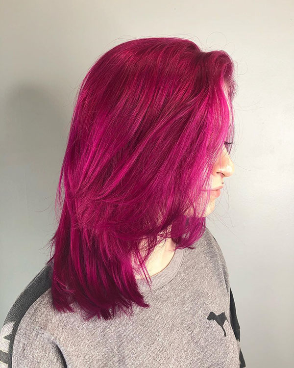 Medium Pink Hairstyles For Girls