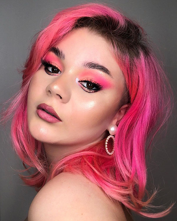 Medium Pink Hair For Women