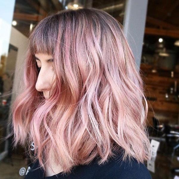 Medium Haircuts With Pink Hair
