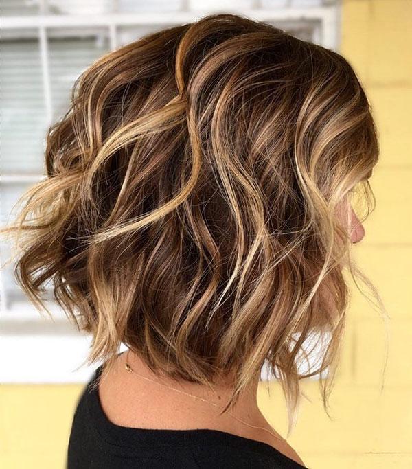 Brown Wavy Medium Hair